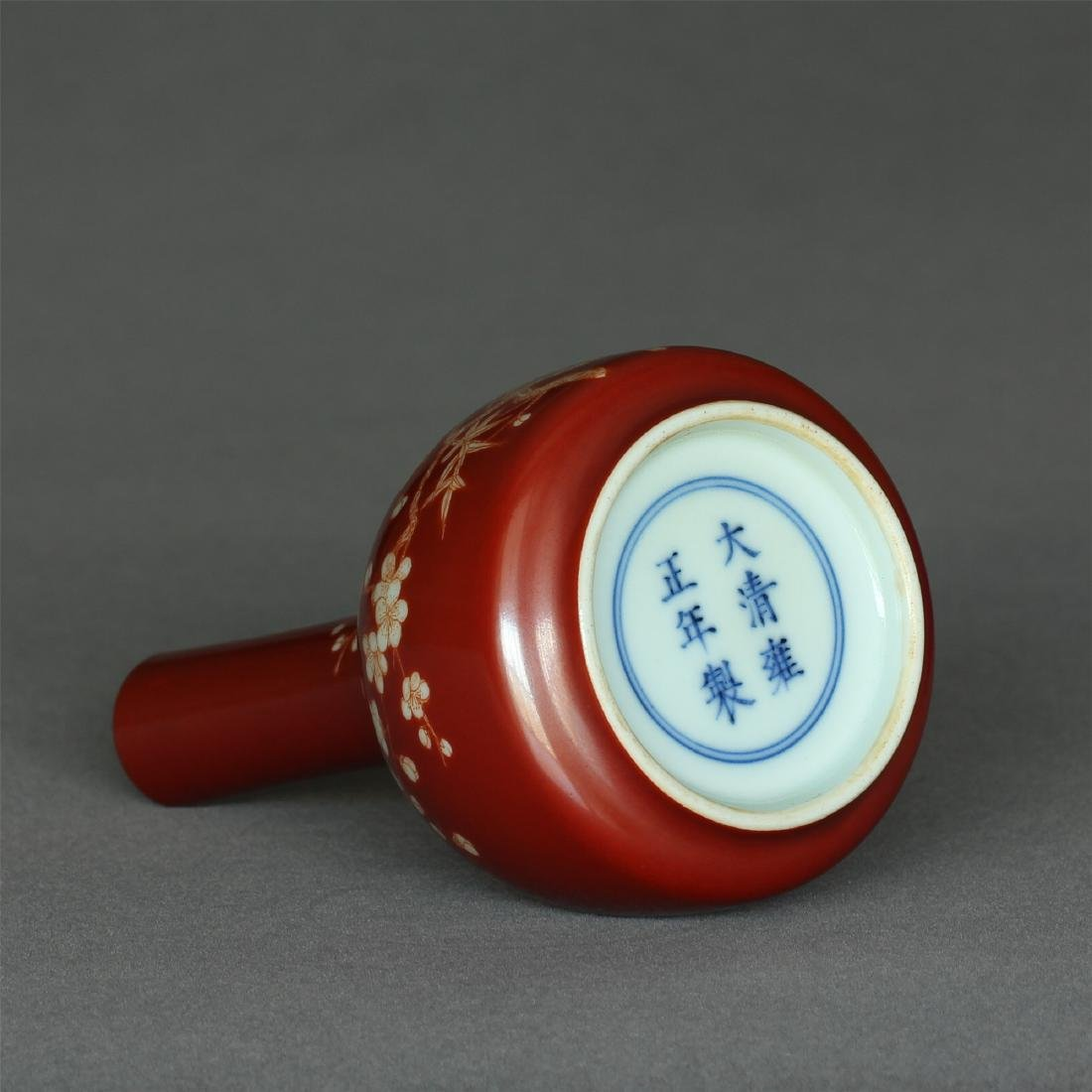 Red color porcelain small vase of Qing Dynasty - 9