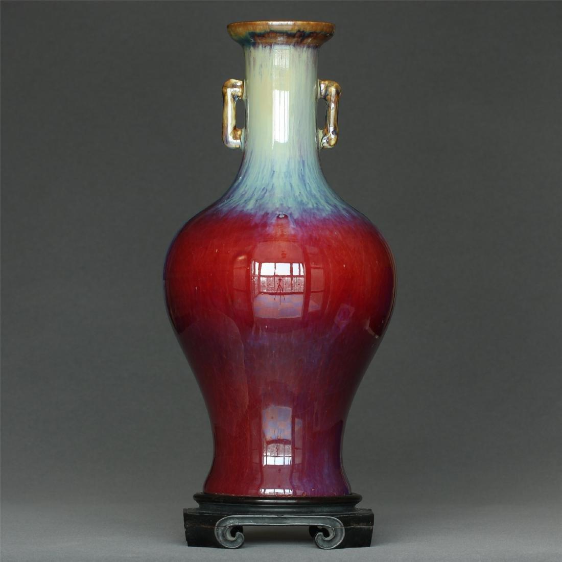 Red glaze discoloration porcelain vase of Qing Dynasty