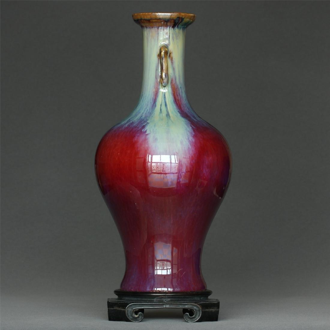 Red glaze discoloration porcelain vase of Qing Dynasty - 4