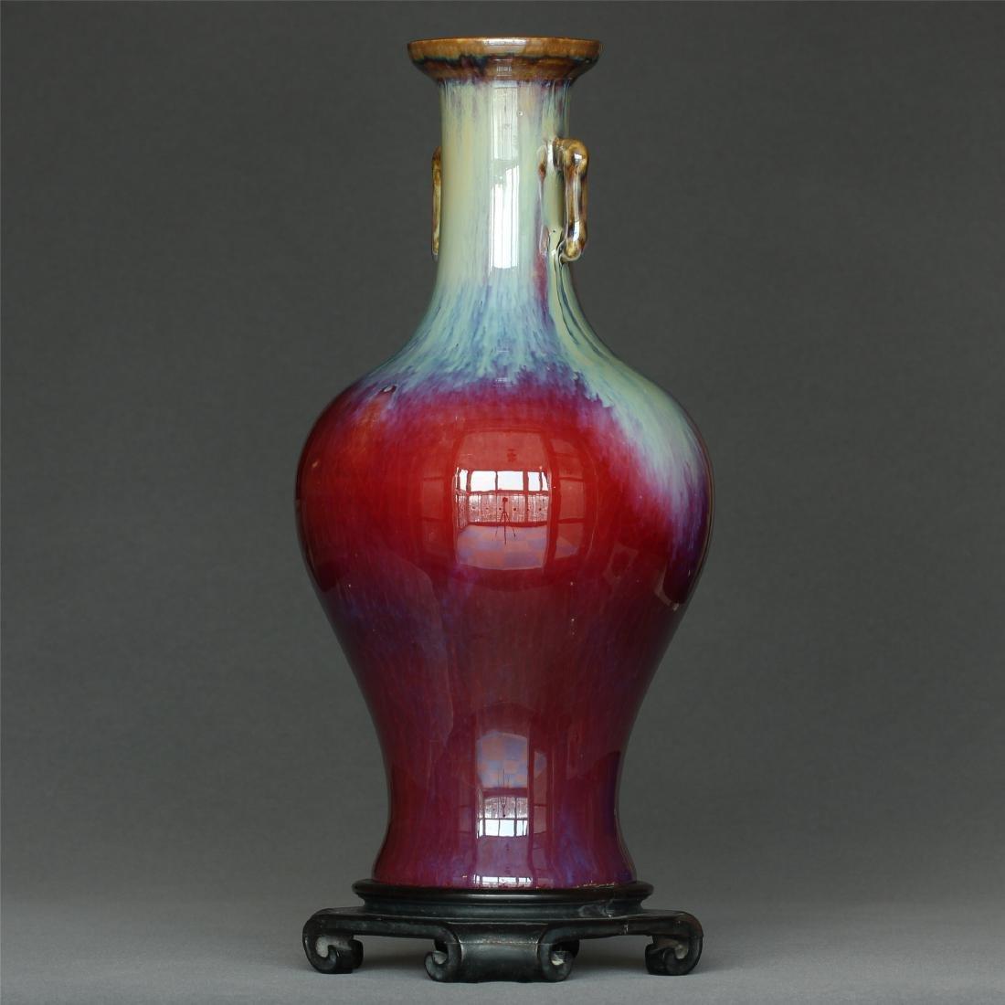Red glaze discoloration porcelain vase of Qing Dynasty - 5
