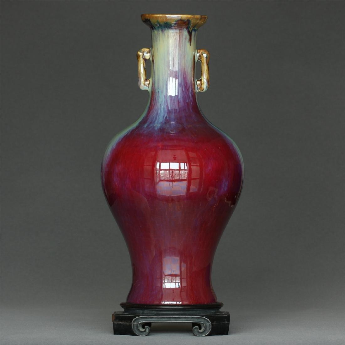 Red glaze discoloration porcelain vase of Qing Dynasty - 6
