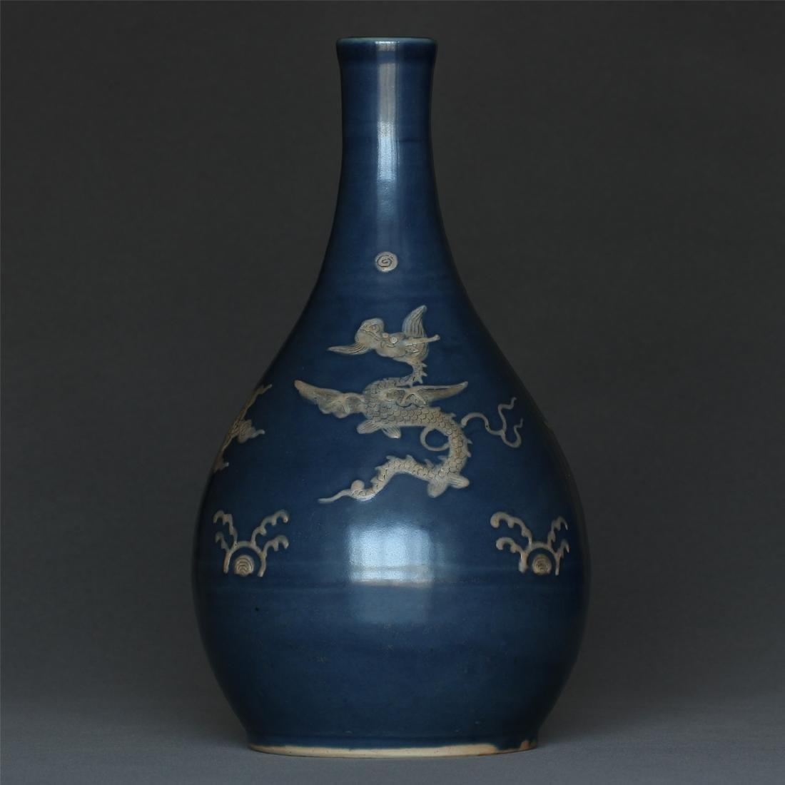 Blue glaze porcelain vase of Ming Dynasty.