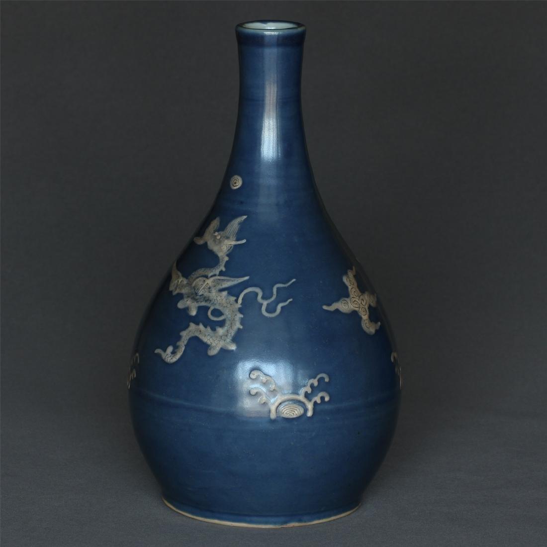 Blue glaze porcelain vase of Ming Dynasty. - 4