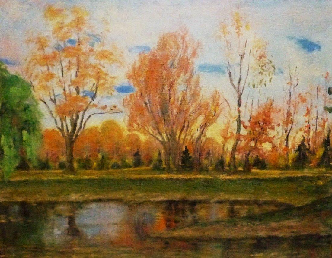 Janis Muncis (1886-1955) Vintage Autumn Landscape Oil - 2