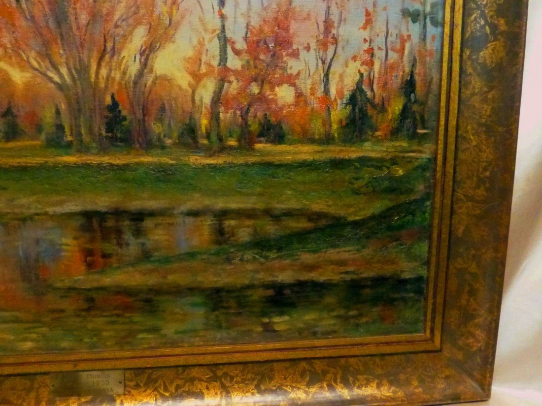 Janis Muncis (1886-1955) Vintage Autumn Landscape Oil - 3