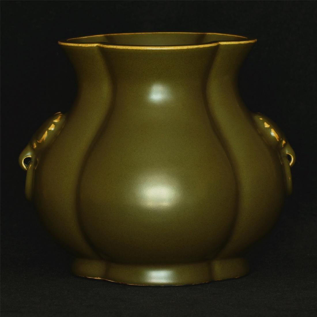 Tea glaze porcelain jar of Qing Dynasty QianLong mark. - 3