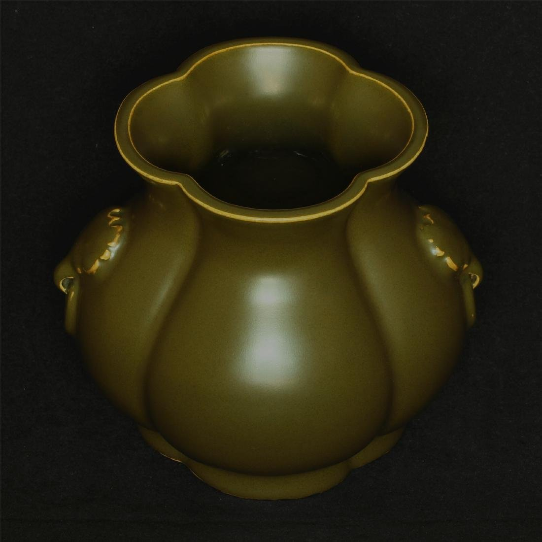 Tea glaze porcelain jar of Qing Dynasty QianLong mark. - 5