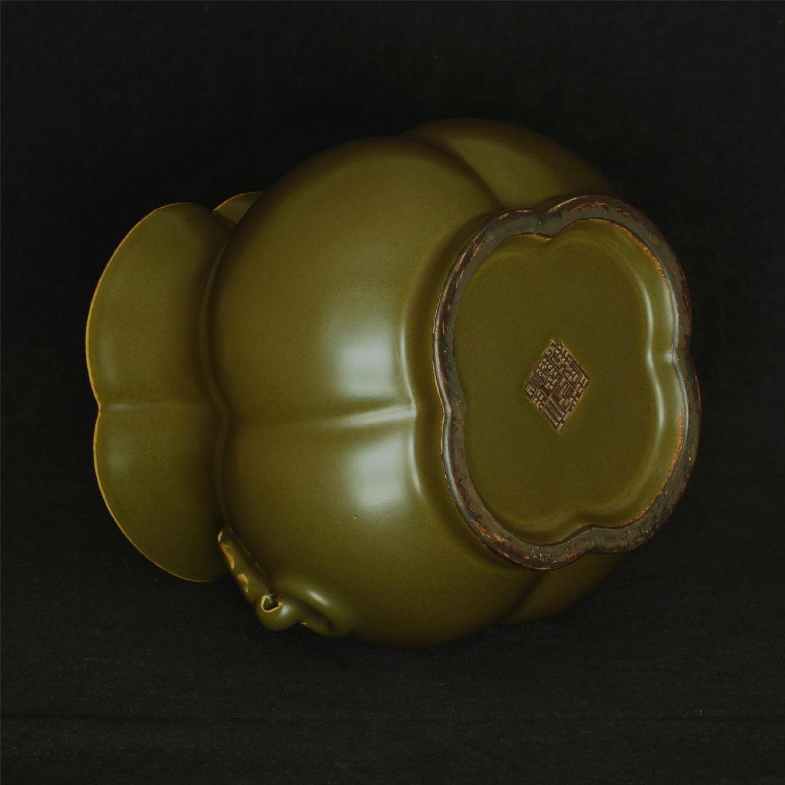 Tea glaze porcelain jar of Qing Dynasty QianLong mark. - 8
