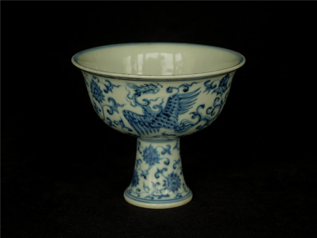 Blue and white porcelain chalice of Ming Dynasty XuanDe