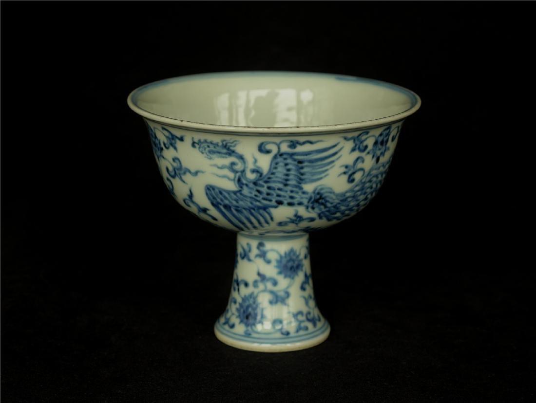 Blue and white porcelain chalice of Ming Dynasty XuanDe - 9