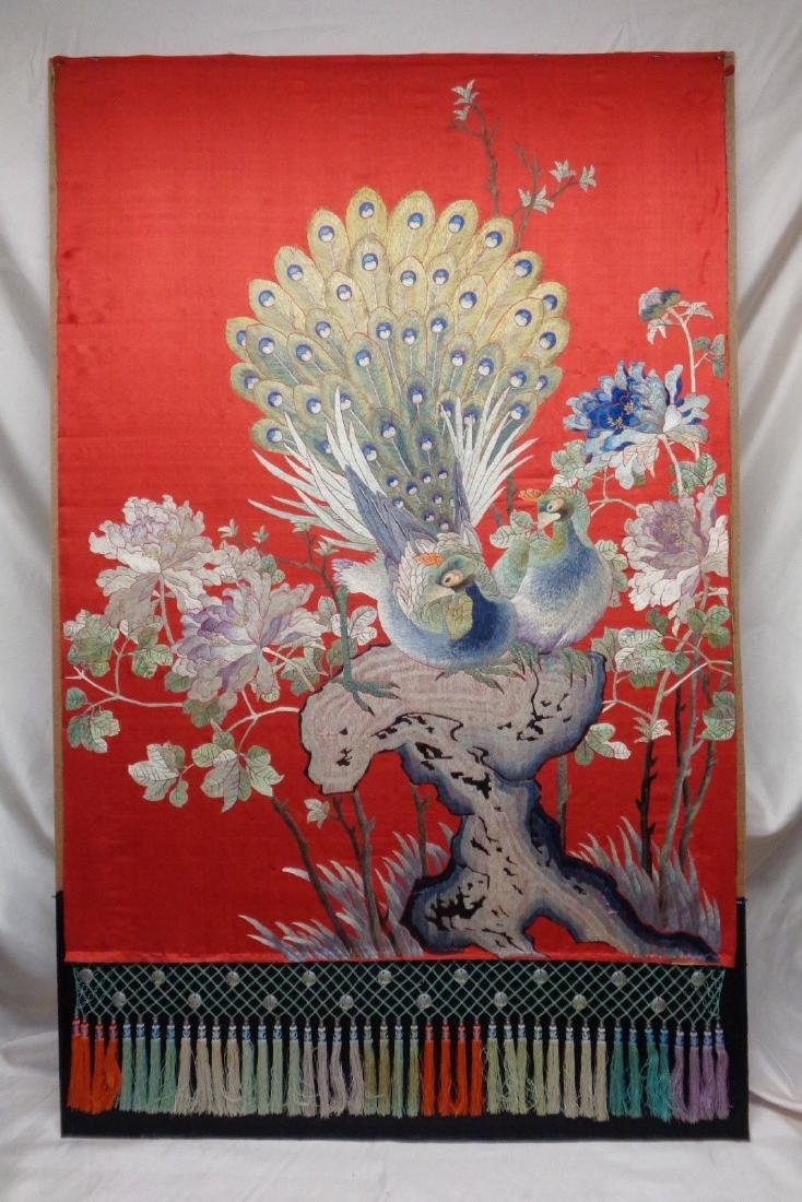 Extra Large Antique Chinese Silk Embroidery Art w.