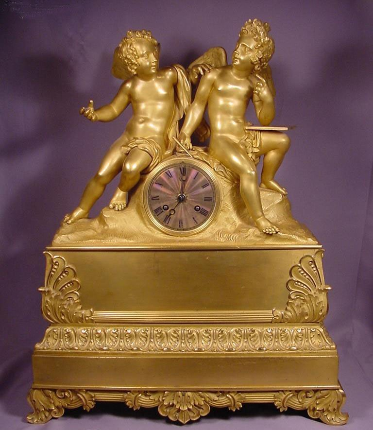 Superb Unique Antique Two Cherubs Circa 1800 Gilt