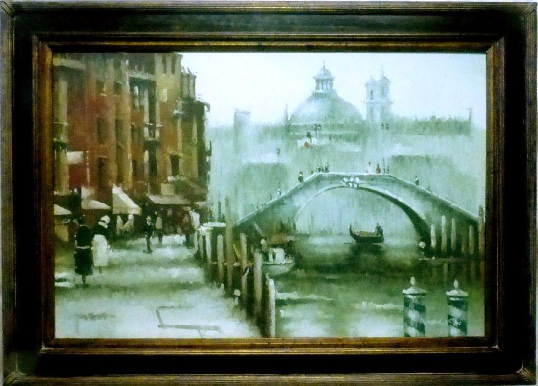 Signed Estate Found Vintage Venice Bridge Oil Painting