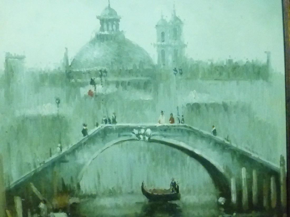 Signed Estate Found Vintage Venice Bridge Oil Painting - 2