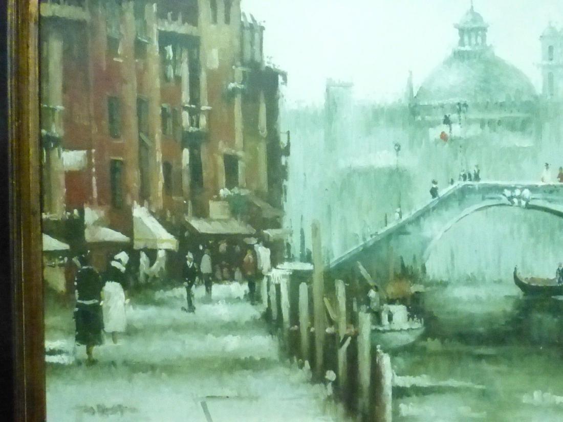 Signed Estate Found Vintage Venice Bridge Oil Painting - 3