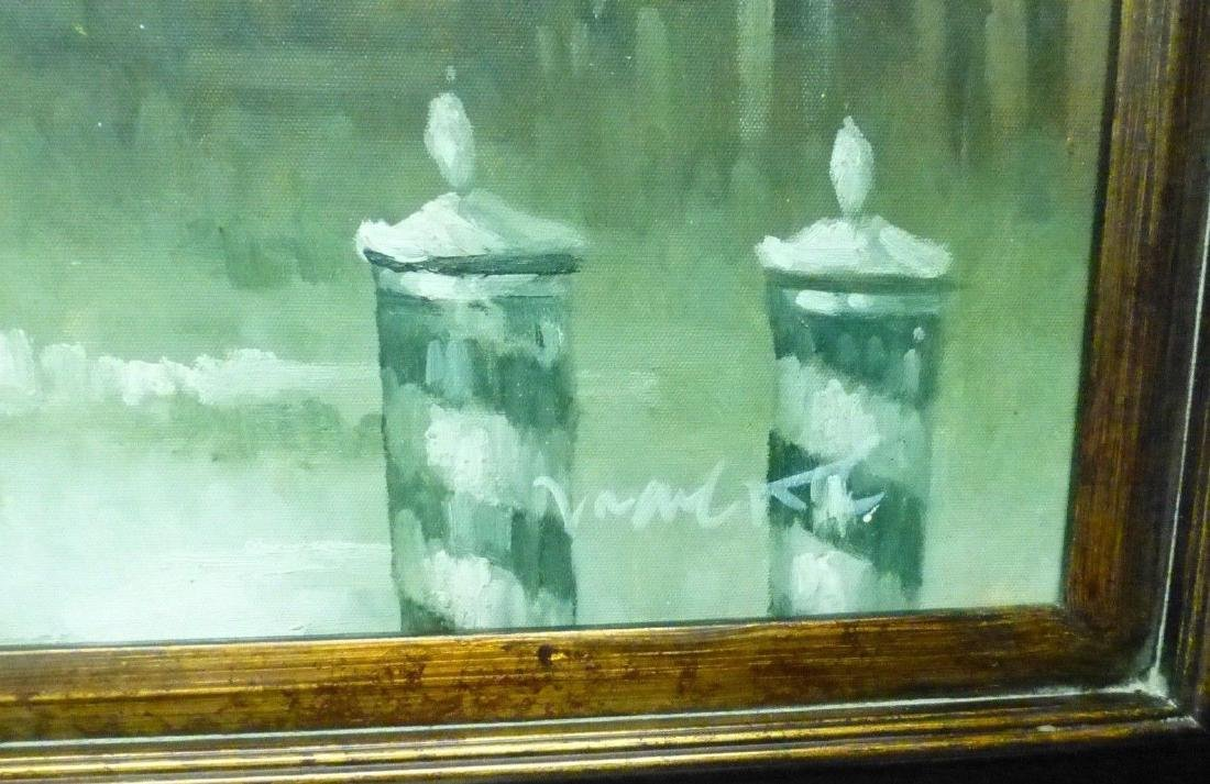 Signed Estate Found Vintage Venice Bridge Oil Painting - 4
