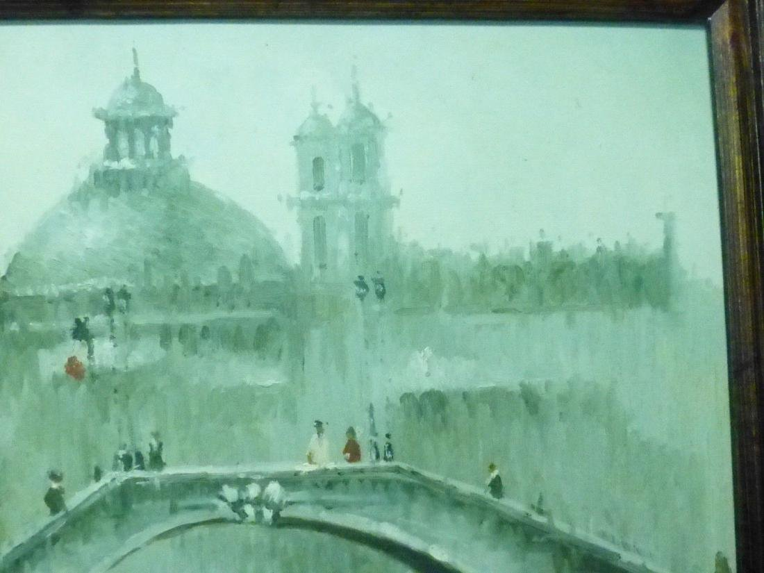 Signed Estate Found Vintage Venice Bridge Oil Painting - 5