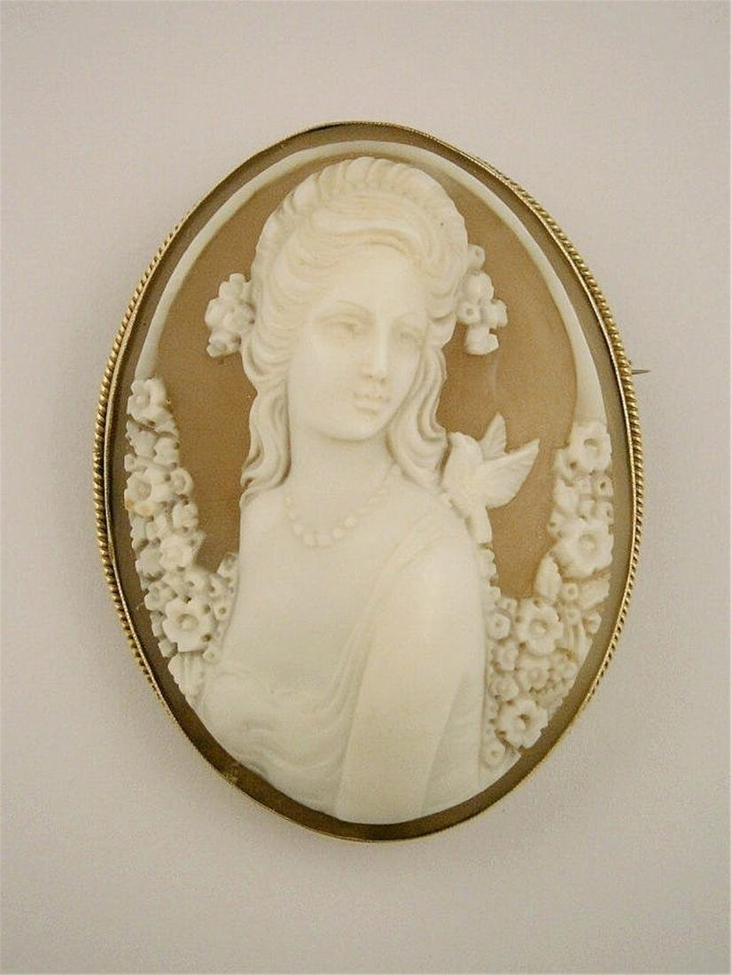 A large shell cameo brooch.