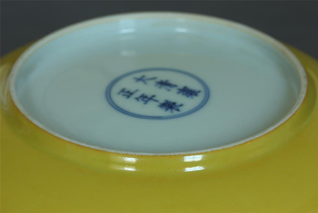 Yellow & famille rose porcelain plate of Qing Dynasty - 10