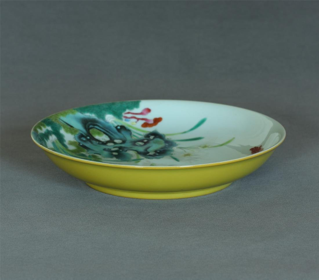 Yellow & famille rose porcelain plate of Qing Dynasty
