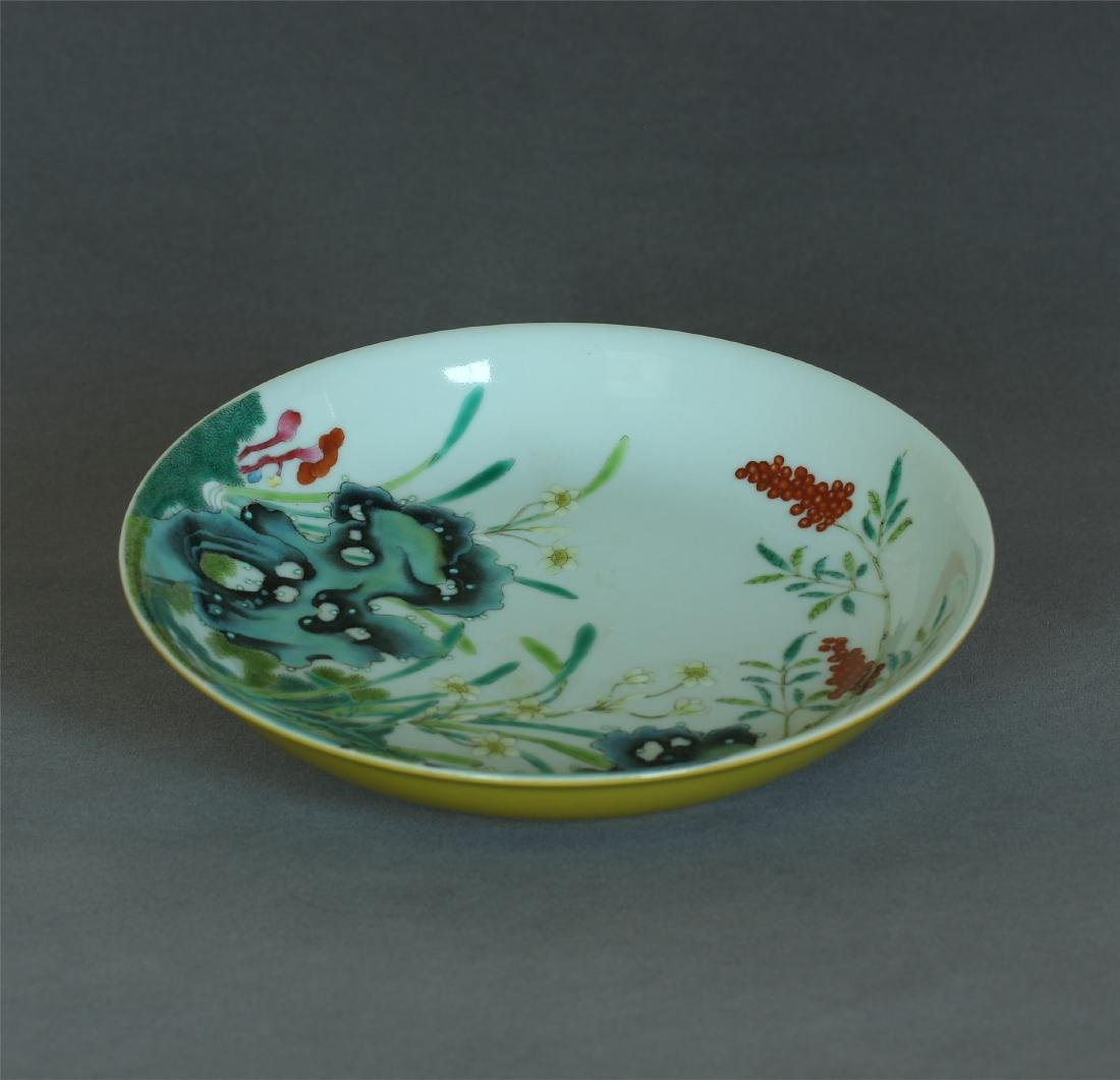 Yellow & famille rose porcelain plate of Qing Dynasty - 8