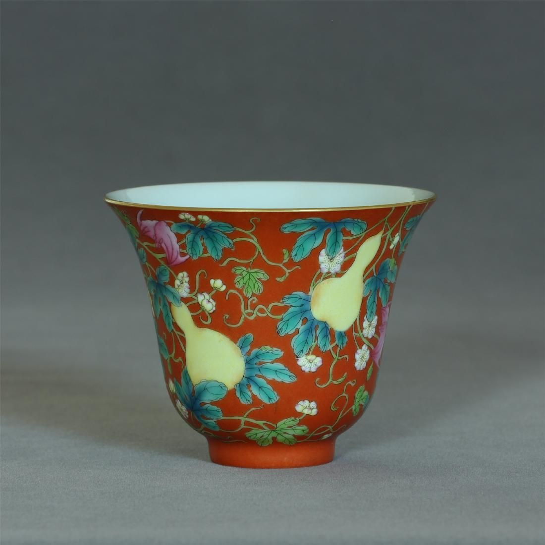Coral red & famille rose porcelain cup, Qing Dynasty