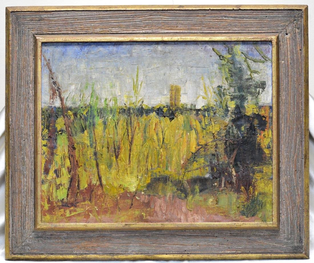 Antique Impression Field Landscape Oil Painting in Gold