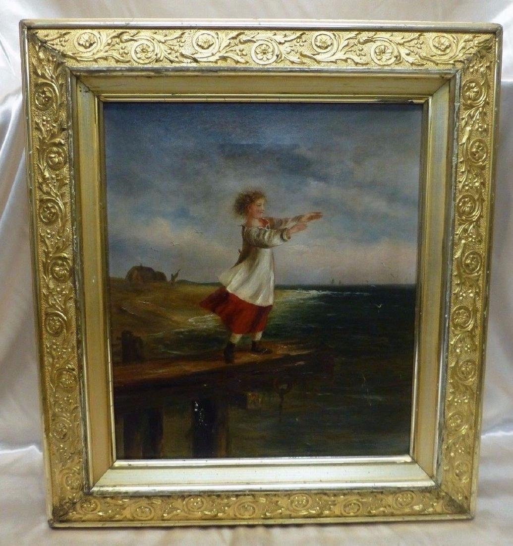 Estate Found Antique Oil Painting of Girl on Pier By