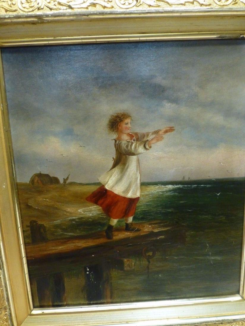 Estate Found Antique Oil Painting of Girl on Pier By - 2