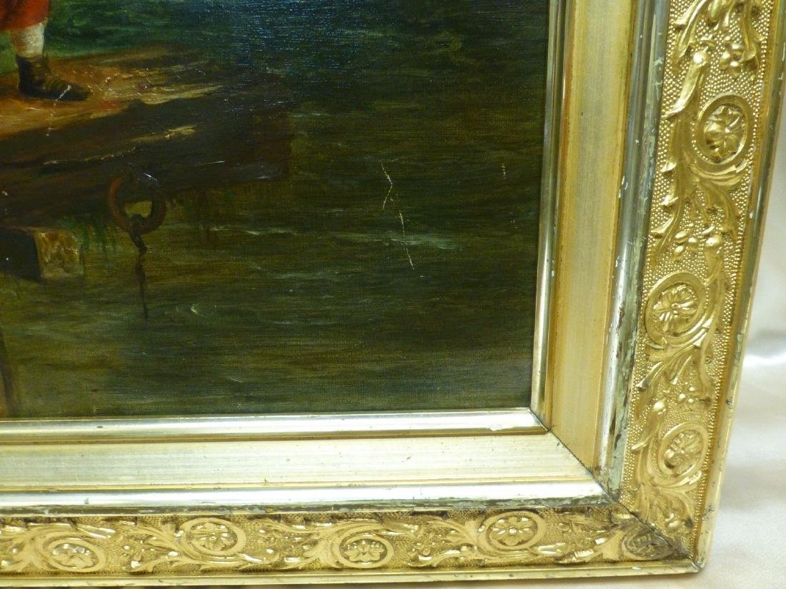 Estate Found Antique Oil Painting of Girl on Pier By - 5