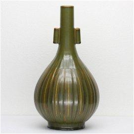 Chinese tea glaze porcelain vase of Qing Dynasty
