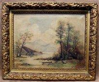Estate Found Original Antique Oil Painting On Canvas