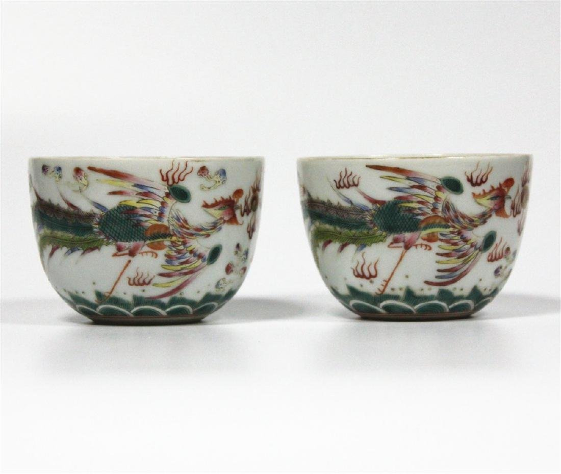 Chinese pair famille rose porcelain cup of Qing Dynasty