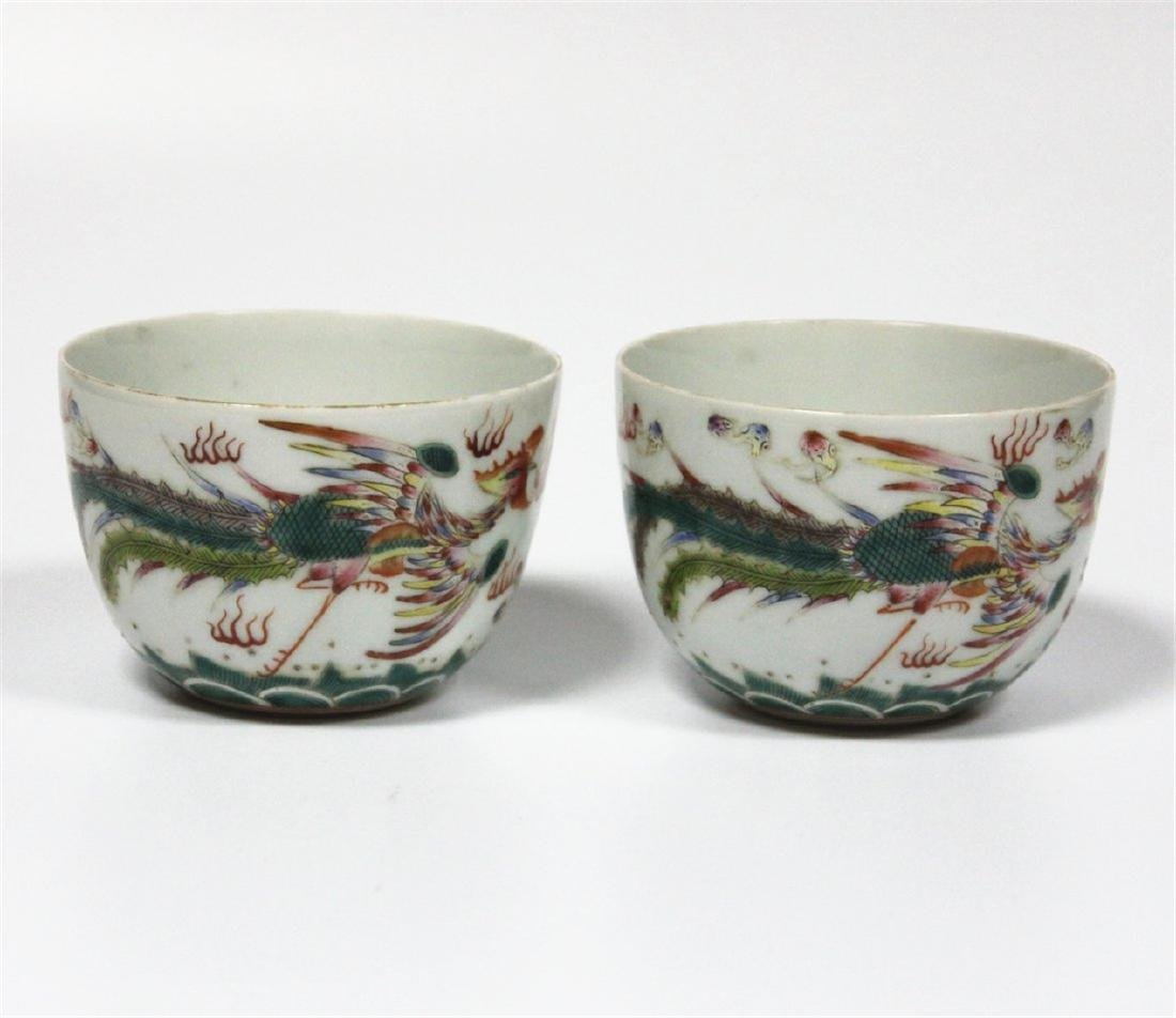 Chinese pair famille rose porcelain cup of Qing Dynasty - 5