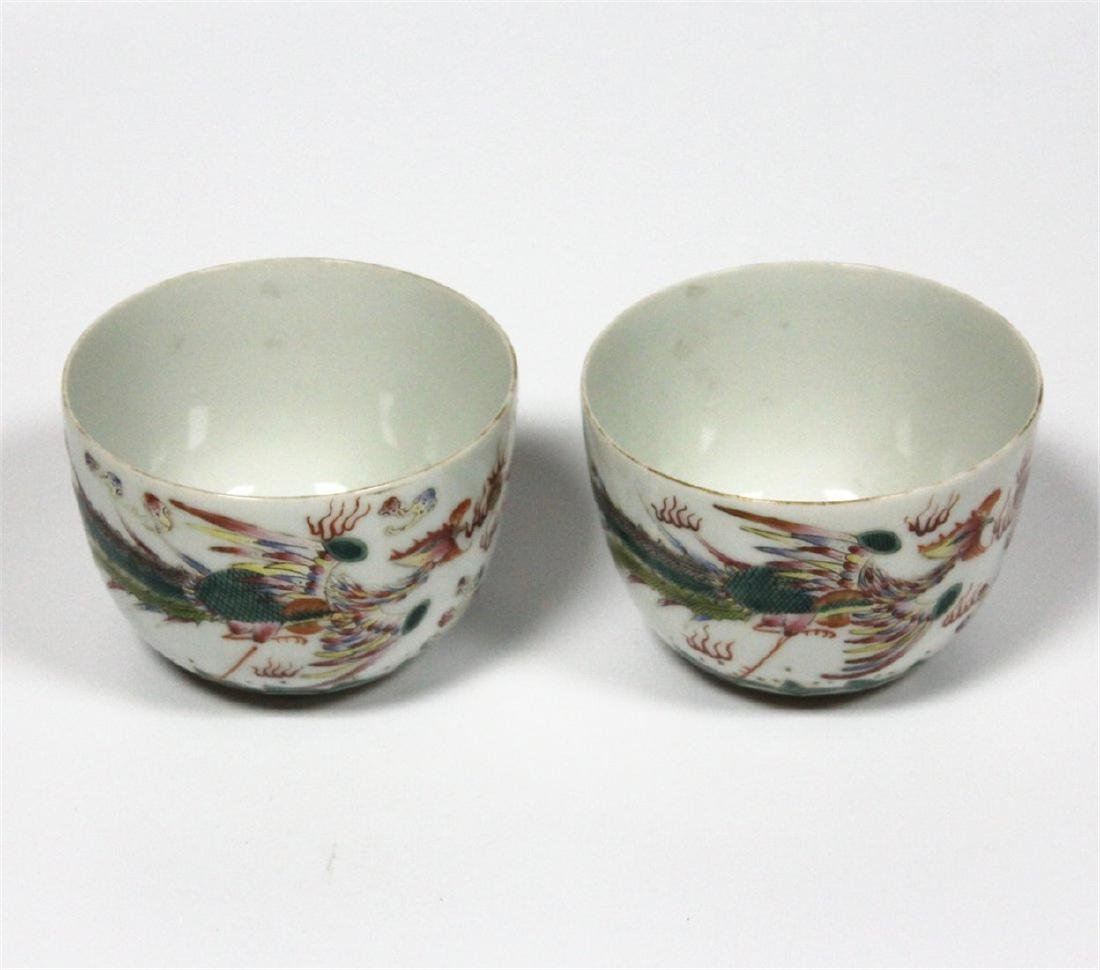 Chinese pair famille rose porcelain cup of Qing Dynasty - 6