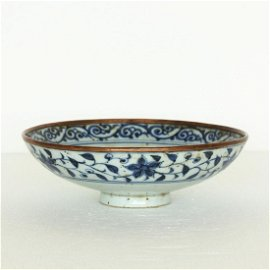 Chinese blue and white porcelain bowl of Yuan Dynasty.