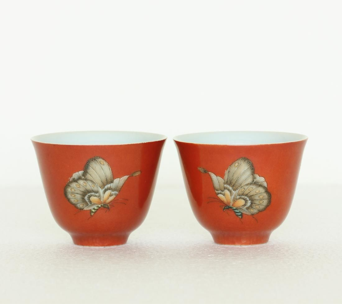 Chinese pair coral red & famille rose porcelain cup of