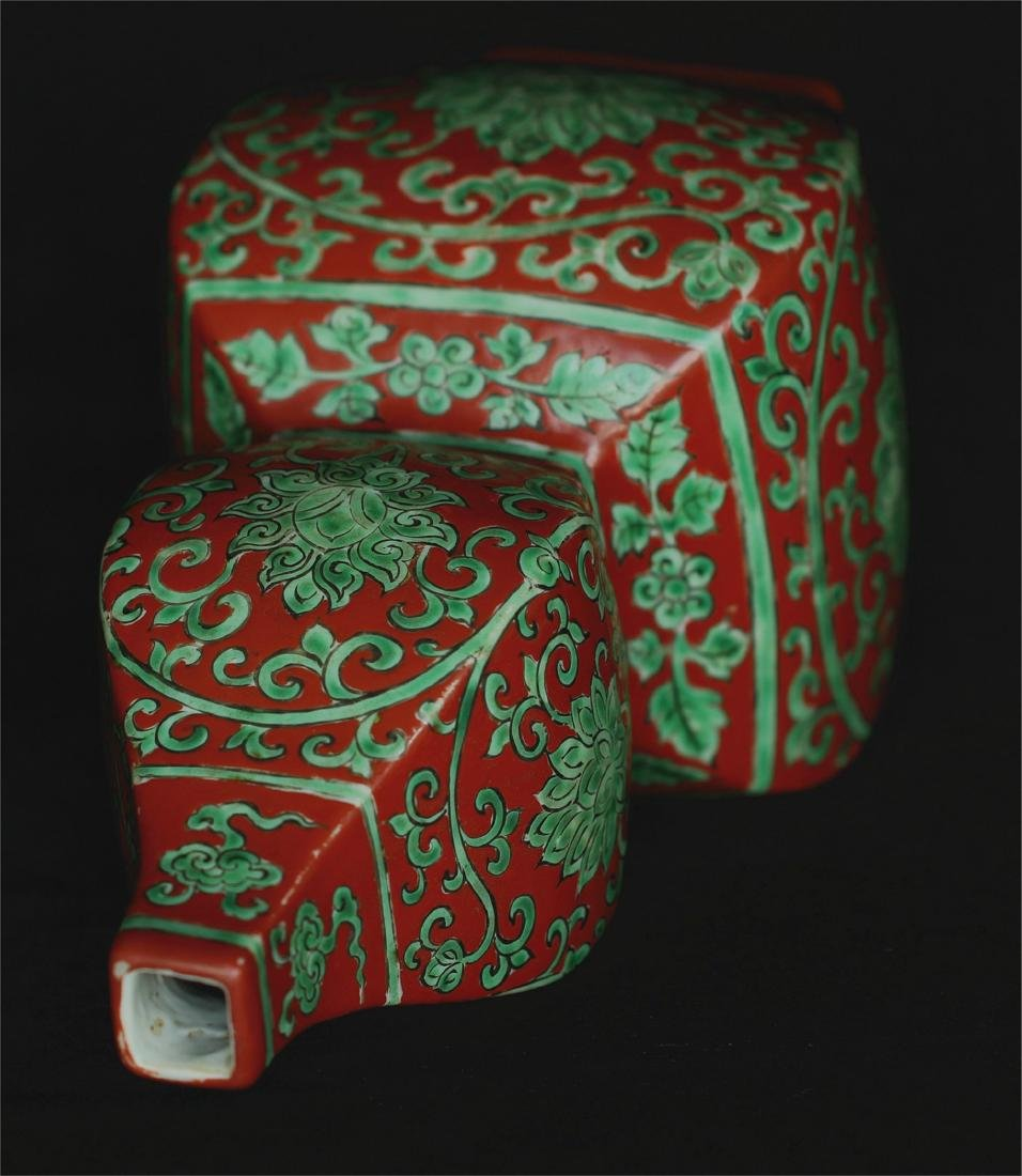 Chinese red & green porcelain vase of Ming Dynasty - 5