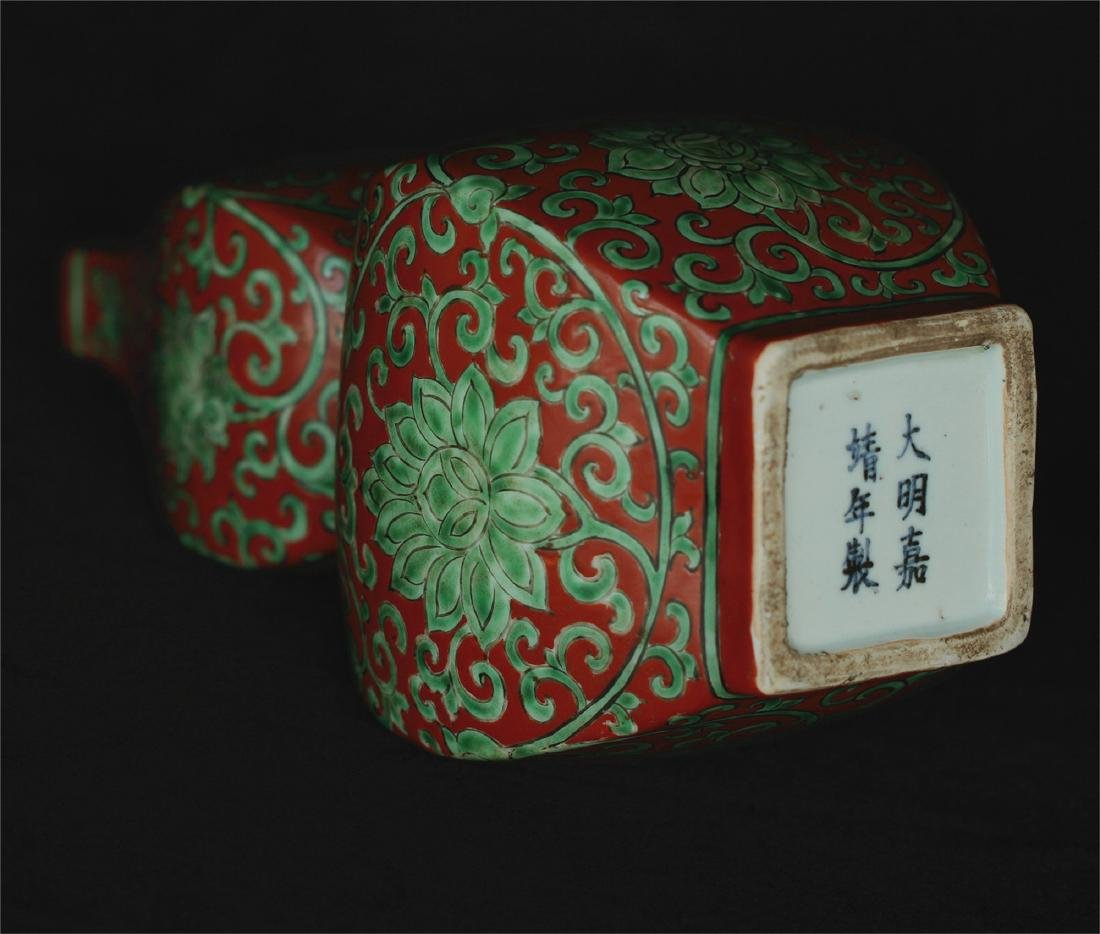 Chinese red & green porcelain vase of Ming Dynasty - 6