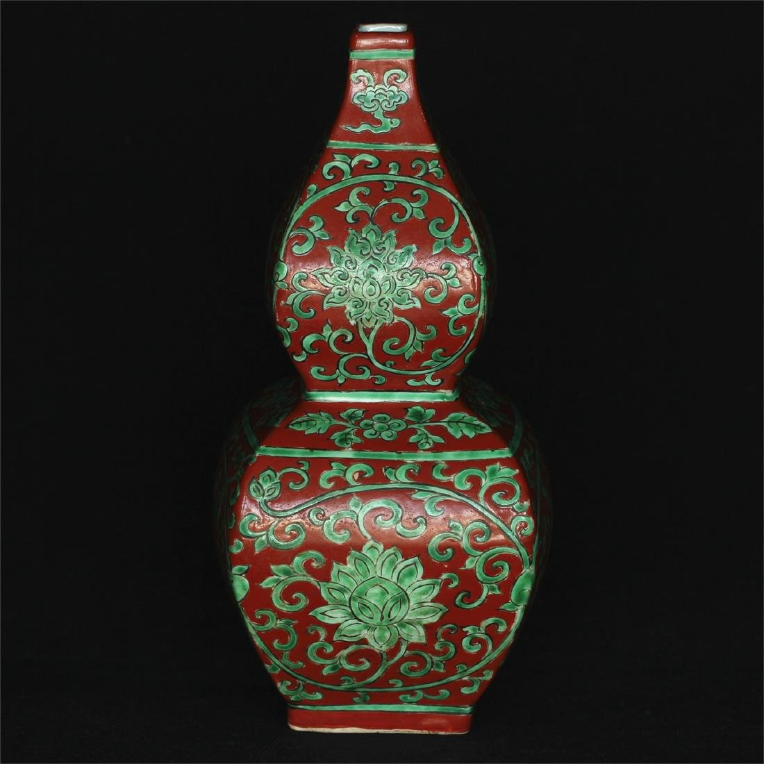 Chinese red & green porcelain vase of Ming Dynasty - 9