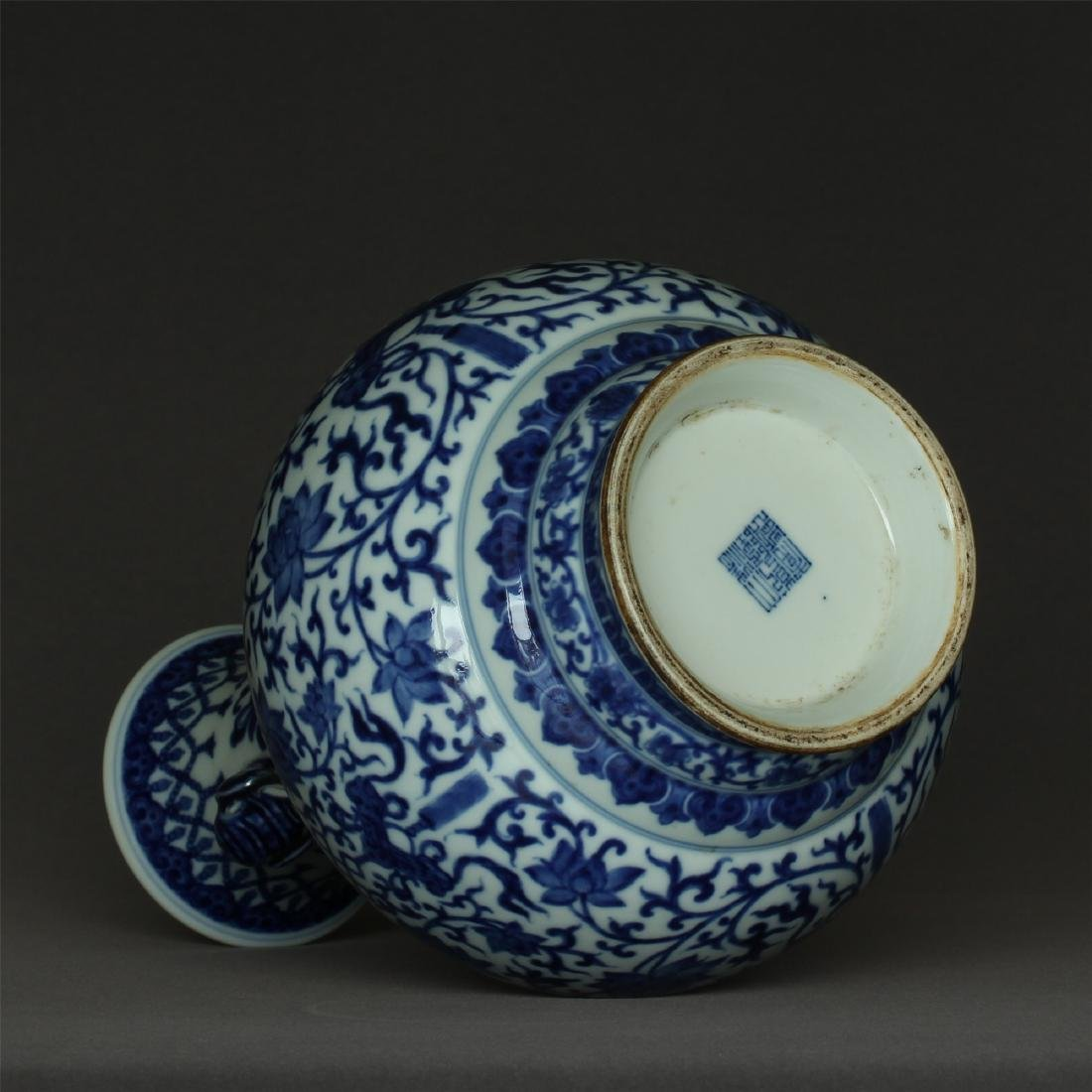 Chinese blue and white porcelain vase of Qing Dynasty - 4