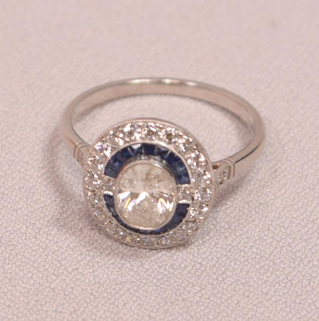 Beautiful Art Deco Design .80 C Center Oval Diamond