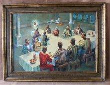 "Signed Hans Josef Zimmer "" The Last Supper "" Oil"