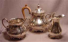 Antique Victorian Sterling Silver 3 pc Tea Set William