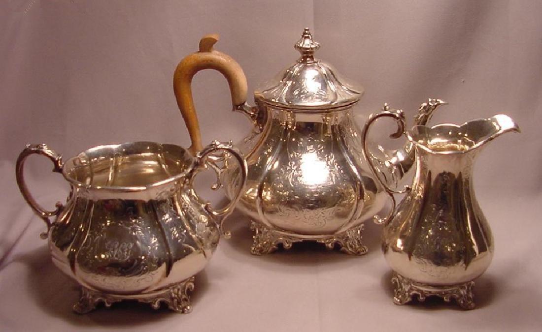 Antique Victorian Sterling Silver 3 pc Tea Set William