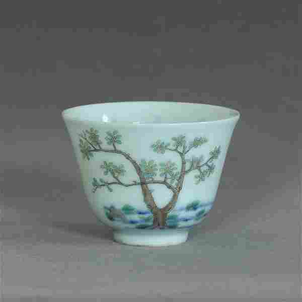 A Chinese famille rose porcelain cup of Qing Dynasty
