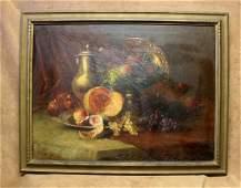 Estate Found Antique Framed Original Still Life Oil