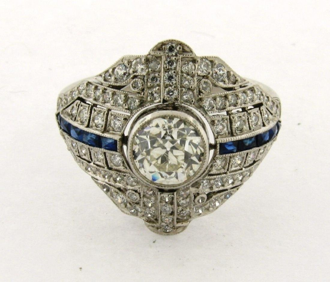 Art Deco 1.00 Carat Center Diamond Sapphires Filigree