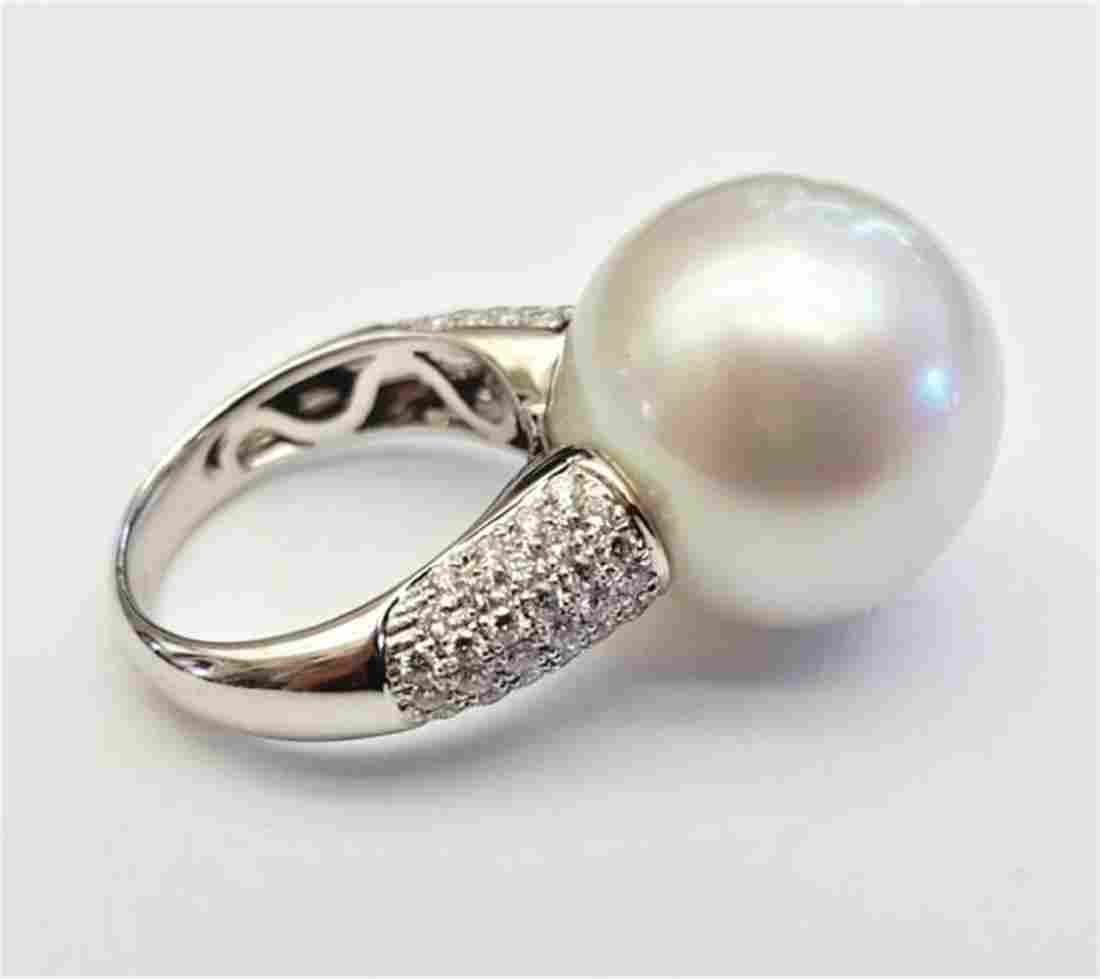18K White Gold 18.2 mm. South Sea Pearl & Diamond Ring