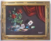 Alfano Dardari Italian Roses & Cigarette Painting